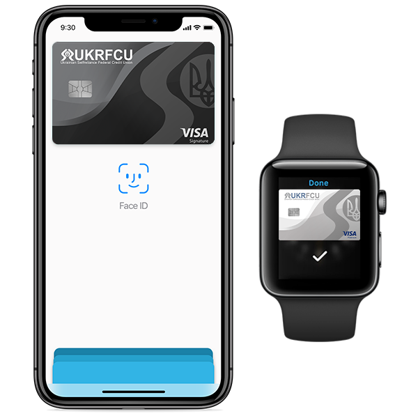 Apple pay example on an iphone and apple watch